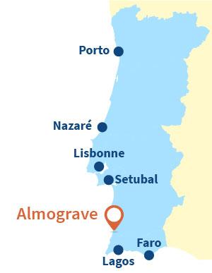 Localisation d'Almograve au Portugal