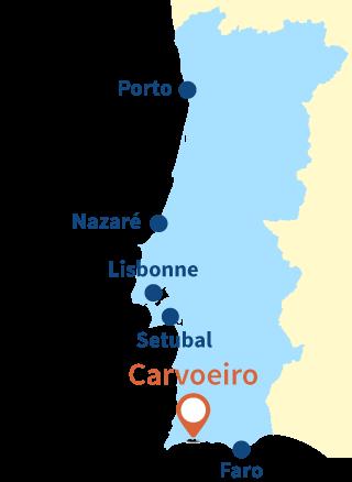 Localisation de Carvoeiro dans le sud du Portugal