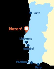 Localisation de Nazaré au Portugal