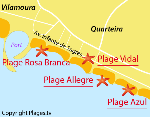 Carte de la plage d'Allegre à Quarteira