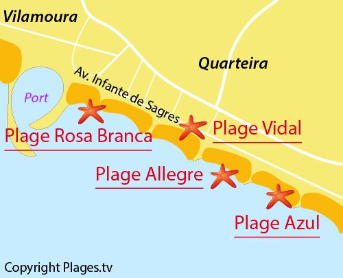 Carte de la plage Azul à Quarteira au Portugal