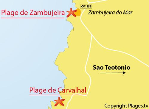 Carte de la plage de Carvalhal au Portugal