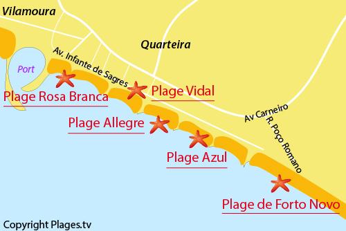 Carte de la plage de Forto Novo à Quarteira - Portugal