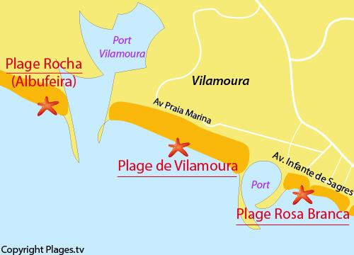 Carte de la plage de Rosa Branca à Quarteira - Portugal