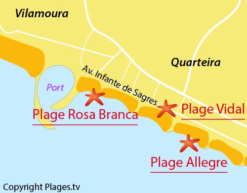 Carte de la plage Vidal à Quarteira au Portugal