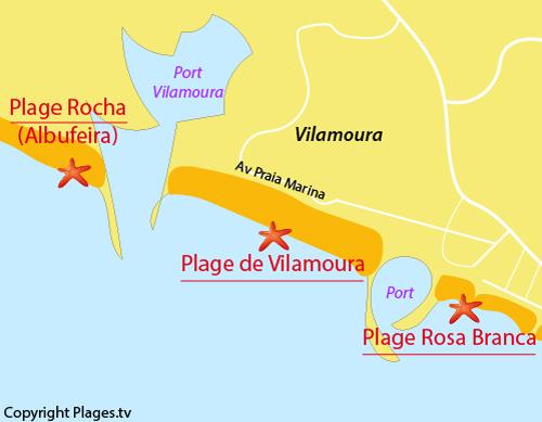 Carte de la plage de Vilamoura à Quarteira - Portugal