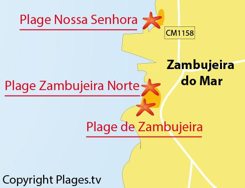 Carte de la plage de Zambujeira au Portugal