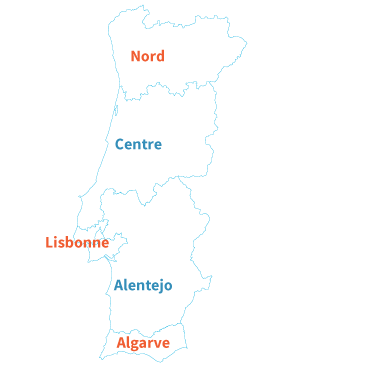 Carte des plages et des stations balnéaires du Portugal