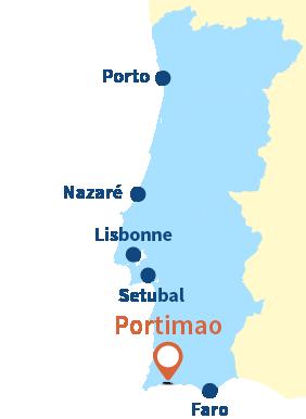 Localisation de Portimao dans le sud du Portugal