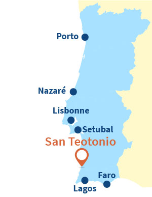 Localisation de San Teotonio au Portugal