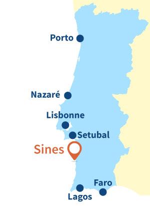 Localisation de Sines au Portugal
