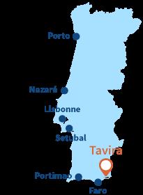 Où se trouve Tavira au Portugal