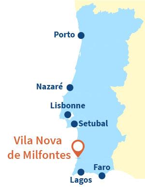Localisation de Vila Nova de Milfontes au Portugal