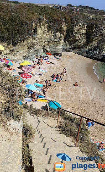 Accès à la crique de Buizinhos à Porto-Covo - sud du Portugal