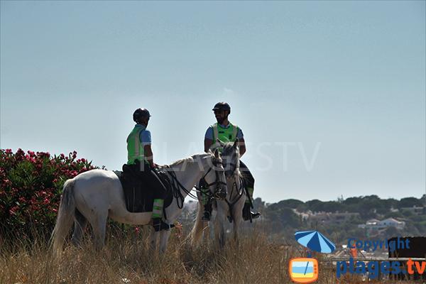 Policiers à cheval sur la plage Alvor au Portugal