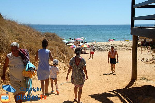 Accès à la plage de Barranco das Belharucas - Olhos d'Agua