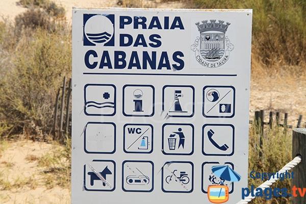 Panneau de la plage de l'ile de Cabanas