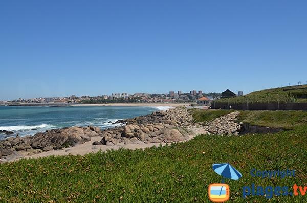 Vue générale de la plage de Cabedelo à Vila Nova de Gaia