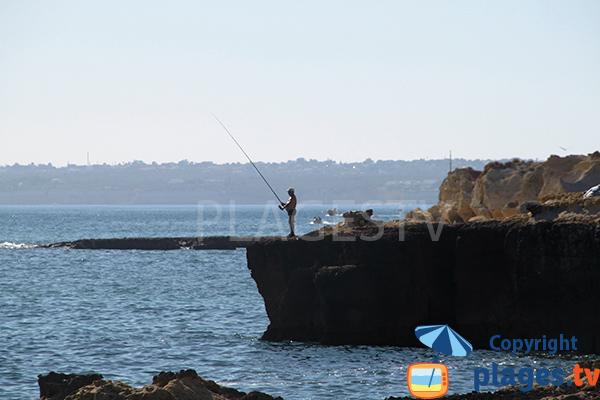 Pêche sur la plage do Evaristo à Albufeira
