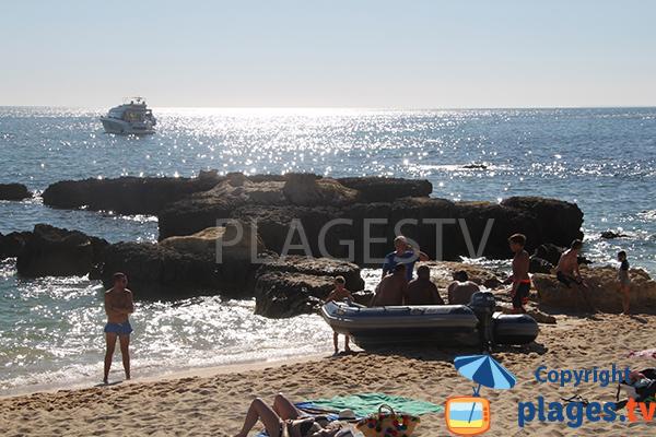 Baignade sur la plage do Evaristo à Albufeira