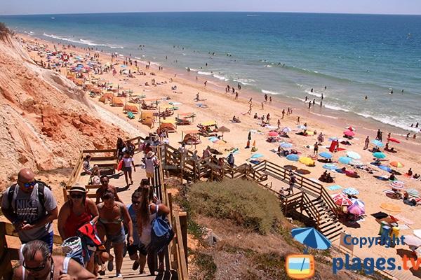 Accès à la plage de Falesia à Albufeira au Portugal