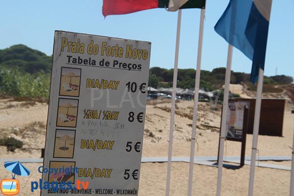 Prix des locations de chaises longues à Quarteira
