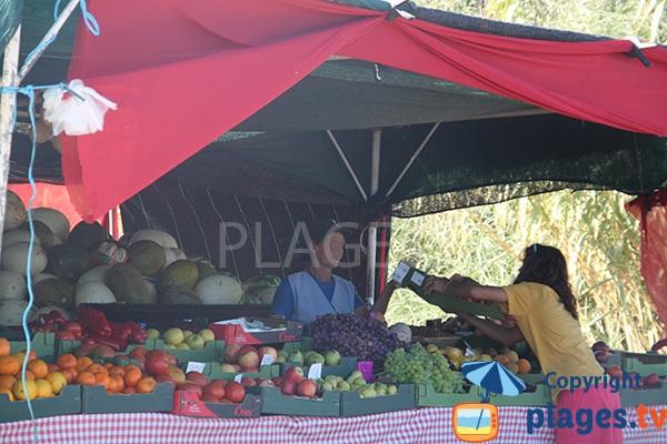 Vente de fruits sur la plage de Galé à Albufeira