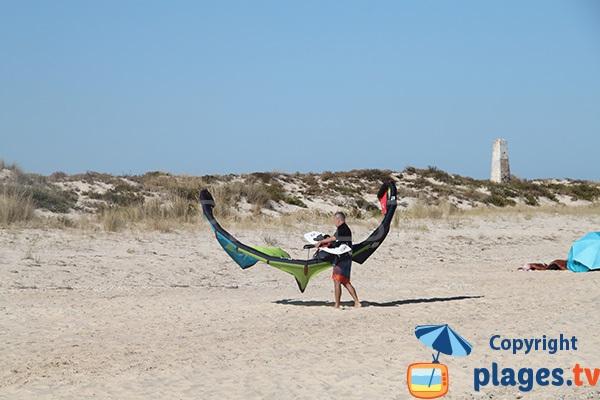 Plage pour le kite surf sur l'ile de Tavira - Portugal