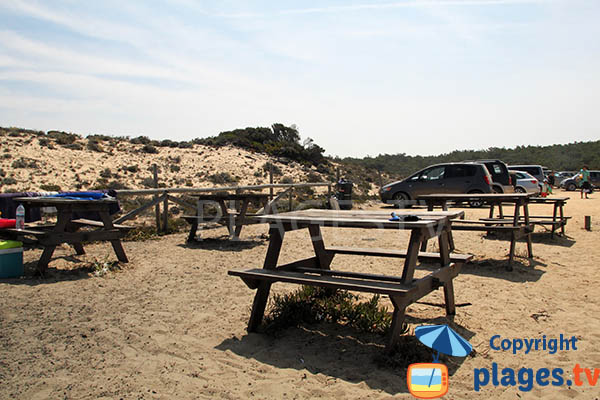 Pique-nique sur la plage de Lago à Sines au Portugal