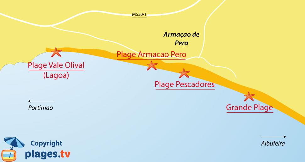 Plan des plages à Armacao de Pera dans le sud du Portugal