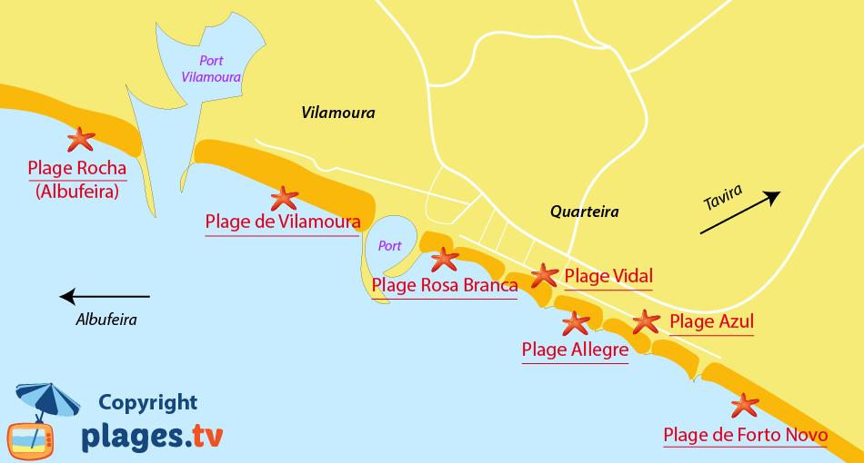 Plan des plages de Quarteira et de Vilamoura au Portugal