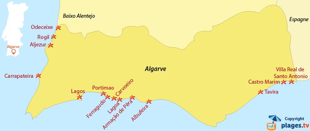 Plan des plages et stations balnéaires de l'Algarve au Portugal