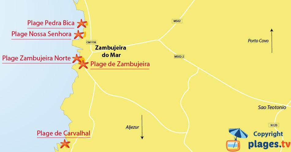Plan des plages de Zambujeira do Mar au Portugal