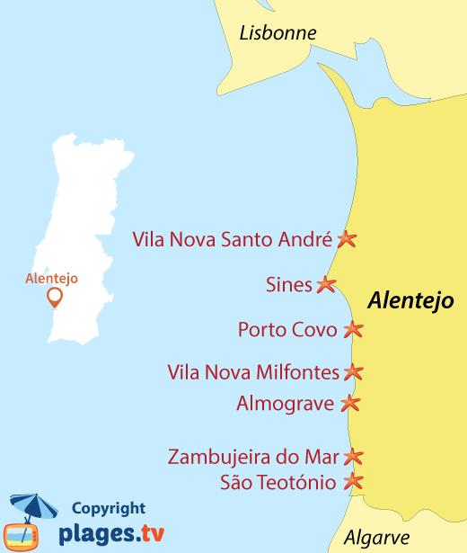 Carte des stations balnéaires et des plages de l'Alentejo au Portugal